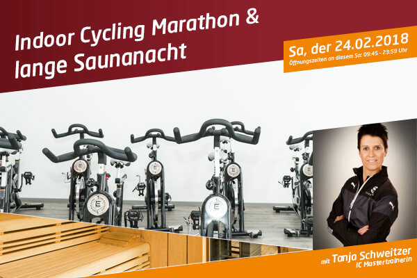 Indoor-Cycling Marathon und lange Saunanacht
